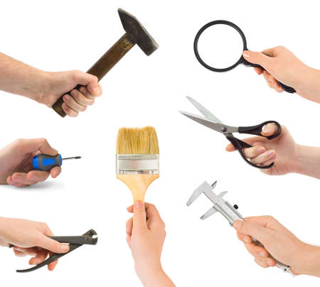 Photo pour Set of hands with tools isolated on white background - image libre de droit