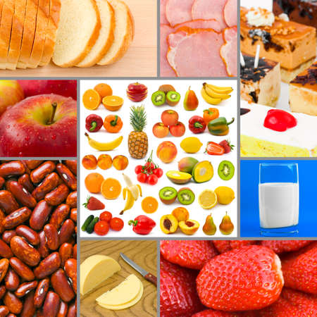 Collage of food images (my photos) - concept background の写真素材