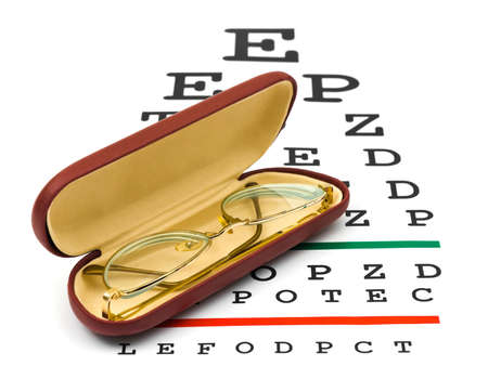 Glasses on eyesight test chart isolated on white background