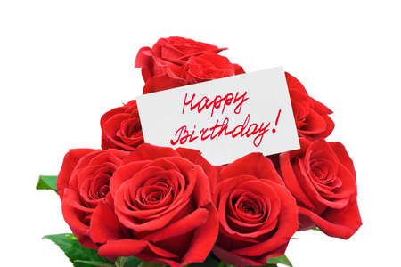 Roses and card Happy birthday isolated on white background