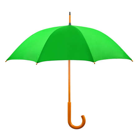 Opened green umbrella isolated on white background