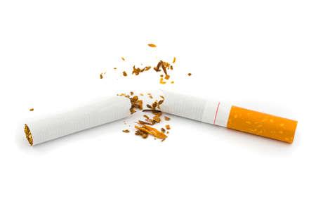 Broken cigarette isolated on white background