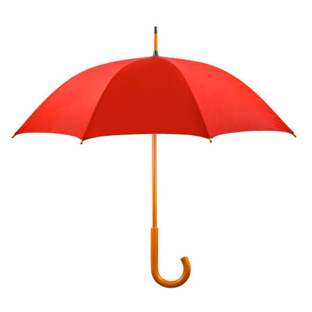 Photo pour Opened red umbrella isolated on white background - image libre de droit