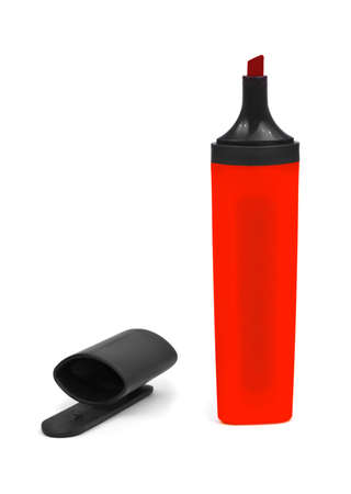 Red marker and cap isolated on white background