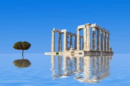 Ancient ruins and tree in water - abstract architecture background
