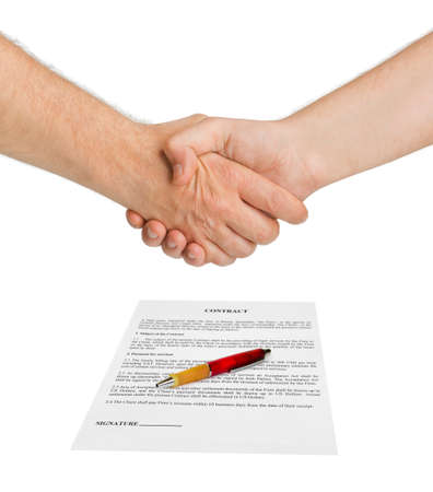 Handshake and contract isolated on white background