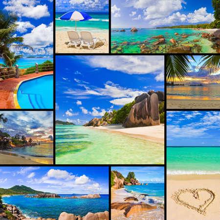 Foto de Collage of summer beach images  - nature and travel background  my photos  - Imagen libre de derechos
