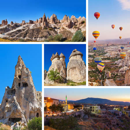 Collage of Cappadocia Turkey images - nature and tourism background  my photos