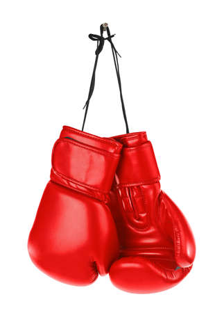 Photo pour Hanging boxing gloves isolated on white background - image libre de droit