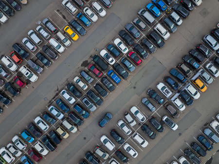 Foto de Car parking - aerial view - transportation background - Imagen libre de derechos