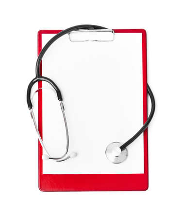 Photo for Medical clipboard and stethoscope isolated on white background - Royalty Free Image
