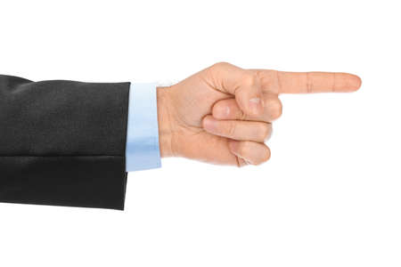Photo pour Pointing hand isolated on white background - image libre de droit