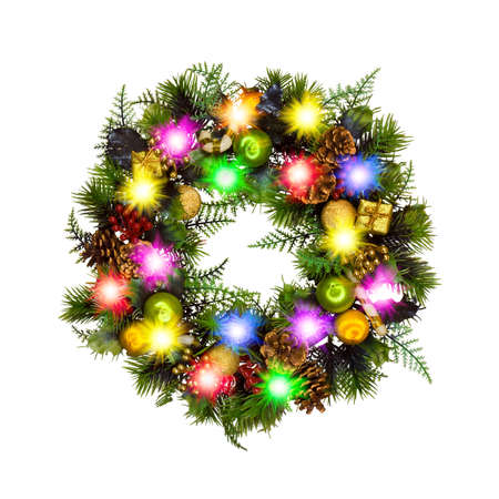 Photo pour Christmas wreath isolated on white background - image libre de droit