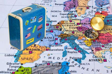 Foto de Europe map and compass - travel background - Imagen libre de derechos