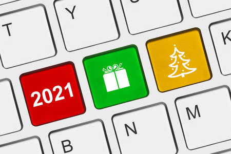 Photo for Computer keyboard with New Year keys - holiday concept - Royalty Free Image
