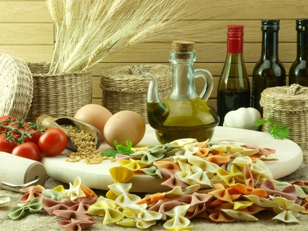 Colorful farfale pasta and ingredients for cooking