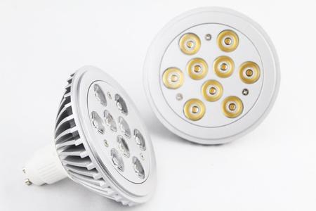 LED light bulbs over white background