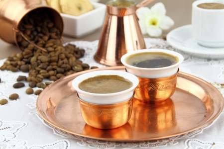 Table set with Greek or Turkish coffee in traditional crockery