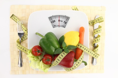 Vegetables with measuring tape on a plate as weight scale