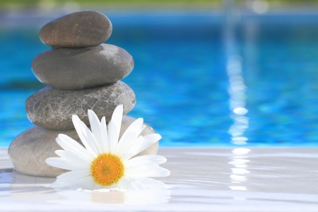Zen stones, flower and water