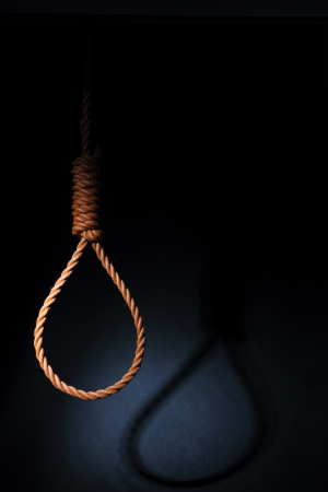 Gallows on black background