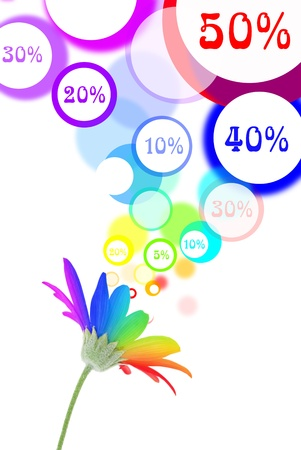 Sales speech bubbles come out of rainbow flower