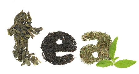 Tea word made of tea varieties