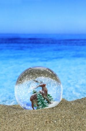 Christmas Snow globe on the beach