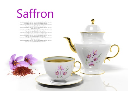 Teapot and teacup with saffron