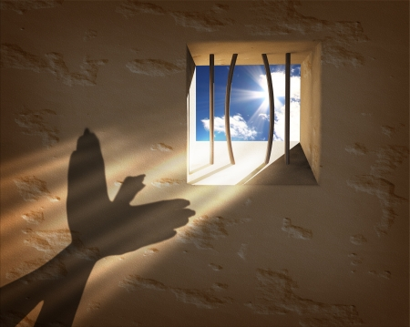 Freedom concept. Escaping from the prison