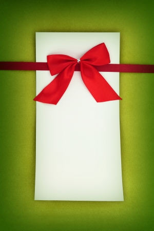 Empty card on green background
