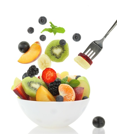 Fresh fruits coming out from a bowl