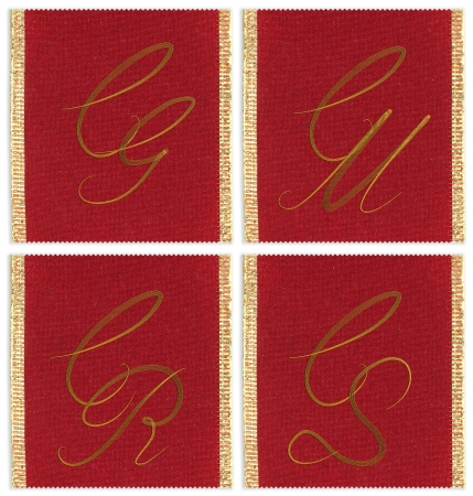 Collection of textile monograms design on a ribbon. CG, CM, CR, CS