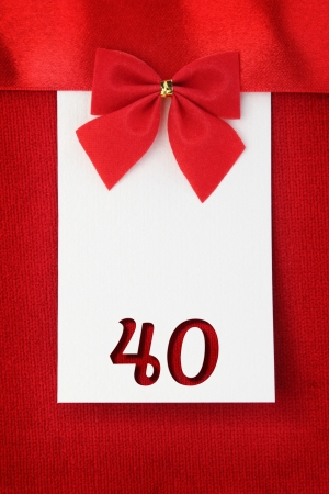 Number forty on red greeting card