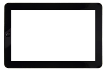 Closeup of tablet with blank screen for template isolated