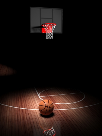 Photo for Basketball hoop with ball on wooden court floor  - Royalty Free Image