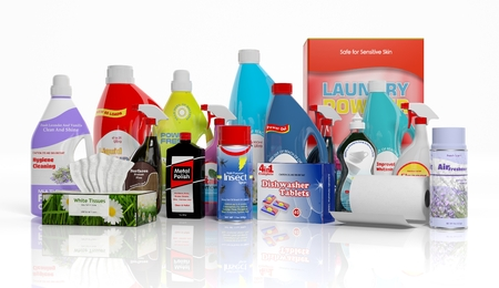 3D collection of household cleaning products isolated on white background