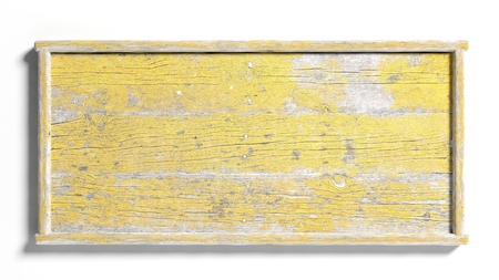 Foto de Blank painted yellow weathered sign post,isolated on white background. - Imagen libre de derechos