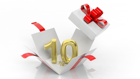 Photo pour Open gift box with gold 10 percent number in it, isolated on white background. - image libre de droit