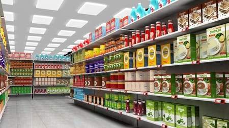 Foto für Supermarket interior with shelves full of various products. - Lizenzfreies Bild