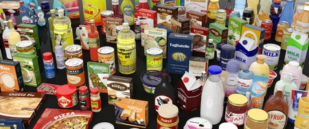Photo for Various grocery products closeup, on black background with reflections - Royalty Free Image