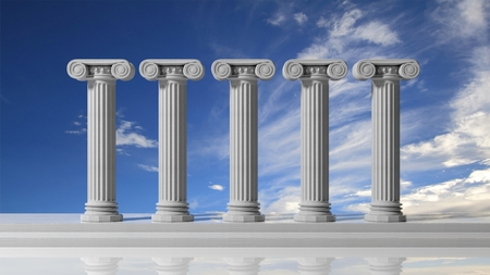 Photo for Five ancient pillars with blue sky background. - Royalty Free Image