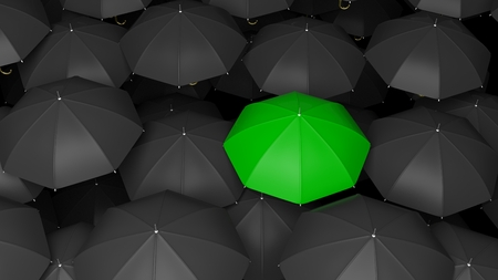 Photo pour 3D rendering of classic large black umbrellas tops with one green standing out. - image libre de droit
