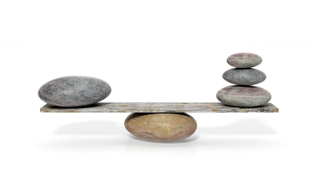 Photo pour 3D rendering of balancing stones on wooden plank, isolated on white background - image libre de droit