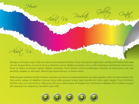 Green torn website template with rainbow colors