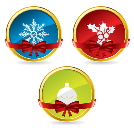 Christmas buttons with bow and ribbon