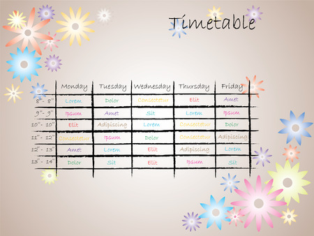 Kids timetable for school