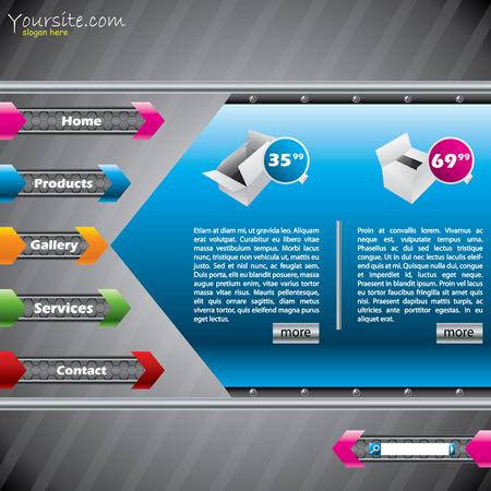 Arrow website template design with product descriptions