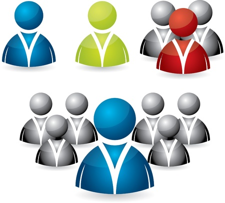 Business people icon set in various colors