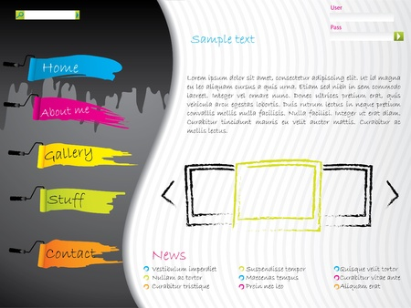 Artistic website template design with paint effects